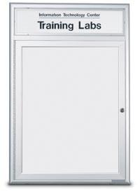"""60 x 36"""" Double Door Standard Radius Indoor Standard Radius Enclosed Dry/Wet Erase Board w/ Header"""