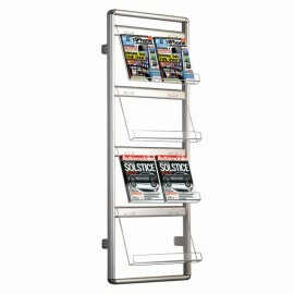 "Brochure Set - Wall Mount Holder Single Sided, Wall Brochure Holder 2 x 4 (8.5"" x 11"") Capacity"