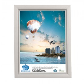"Slide In Frame 8.5'' X 11''  Poster Size 0.93"" Silver Color Profile, Mitered Corner, Single Sided"