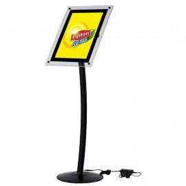 "Curved Sign Holder with Acryled 11"" x 17"" Poster Size Black, Landscape & Portrait position"