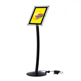 "Curved Sign Holder with Acryled 8.5"" x 11"" Poster Size Black, Landscape & Portrait position"