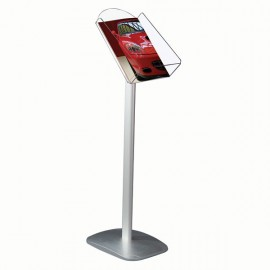 "Decorative Brochure Stand 8.5"" x 11"" Paper Area,  Portrait Silver Anodized Aluminum Body & Acrylic"