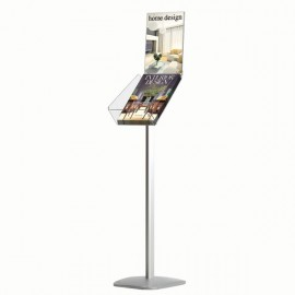 "Decorative Brochure Stand Plus 8.5""x11"" Paper Area, Portrait, Silver Anodized Aluminum, Acrylic"