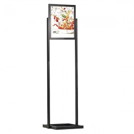 "Eco Floor Stand 18""w x 24""h Poster Size Black, 1 Tier, Double Sided"