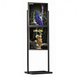 "Eco Floor Stand 22""w x 28""h Poster Size Black, 2 Tiers, Double Sided"