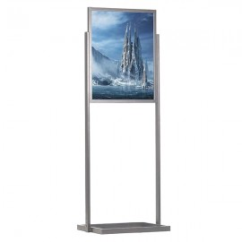 "Eco Floor Stand 24""w x 36""h Poster Size Silver, 1 Tier, Double Sided"