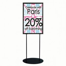 "Oval Floor Stand 24""w x 36""h Poster Size Black, Double Sided"