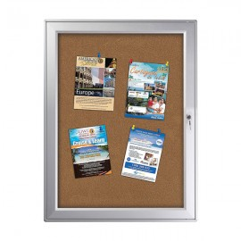 "enclose bulletin board 9 x (8.5"" x 11"") Paper Area Silver Aluminum, outdoor"