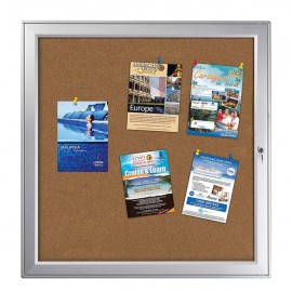 "enclose bulletin board 12 x (8.5"" x 11"") Paper Area Silver Aluminum, outdoor"