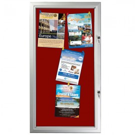 "Red Felt  6 x (8.5"" x 11"") Capacity Silver Aluminum Frame, Double Key Weatherproof"