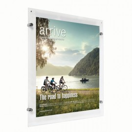 "Wall Mount Clear Acrylic Frame with Standoff Hardware and Magnets for 22"" x 28"" Poster Size"