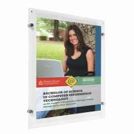 "Wall Mount Clear Acrylic Frame with Standoff Hardware and Magnets for 8.5"" x 11"" Poster Size"