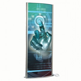 "Kiosk 27""w x 67""h Poster Size Silver, Double Sided, With Light, Snap Open Poster Change"