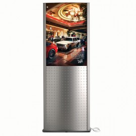 "Decorative Kiosk 24""w x 36""h Poster Size Silver, Double Sided, With poster panel"