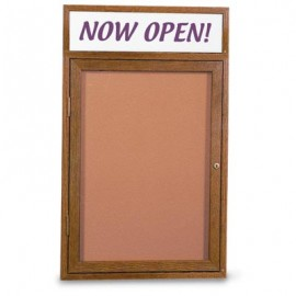 "24 x 36"" Single Door Illuminated w/ Header Indoor Wood Enclosed Corkboard"