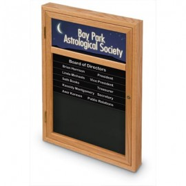 "18 x 24"" Single Door Enclosed Magnetic Directory Board w/ Header"