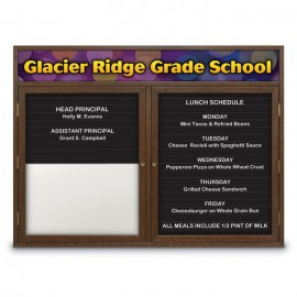"42 x 32"" Double Door Enclosed Magnetic Directory Board w/ Header"