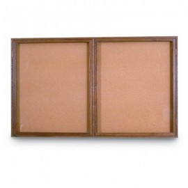 "60 x 36"" Double Door Standard Indoor Wood Enclosed Corkboard"