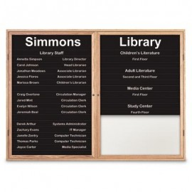 "48 x 36"" Double Door Illuminated Enclosed Magnetic Directory Board w/ Header"