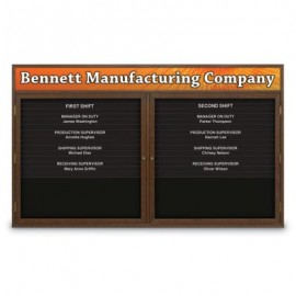 "60 x 36"" Double Door Enclosed Magnetic Directory Board w/ Header"