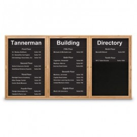 "72 x 36"" Triple Door Illuminated Enclosed Magnetic Directory Board"