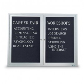 "60 x 36"" Double Door Standard Indoor Enclosed Letterboard"
