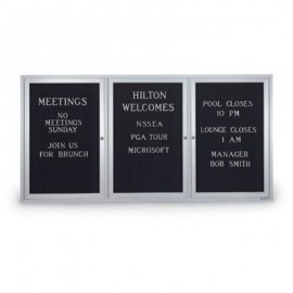 "72 x 36"" Triple Door Illuminated Outdoor Enclosed Letterboard"