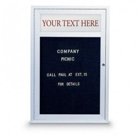 "24 x 36"" Single Door Indoor Enclosed Letterboard w/ Illuminated Header"