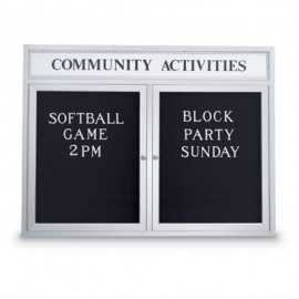 "48 x 36"" Double Door Outdoor Enclosed Letterboard w/ Header"