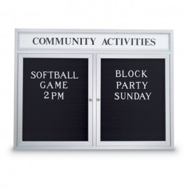 "48 x 36"" Double Door Outdoor Enclosed Letterboard w/ Illuminated Header"