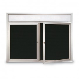 "60 x 36"" Double Door Outdoor Enclosed Letterboard w/ Illuminated Header"