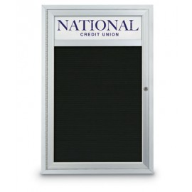 "18 x 24"" Single Door Standard Outdoor Enclosed Letterboard w/ Header"