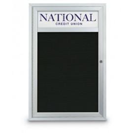 "18 x 24"" Single Door Standard Outdoor Enclosed Letterboard w/ Header"