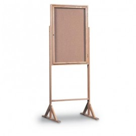 "24 x 36"" Wood Framed Enclosed Double Pedestal Corkboard"