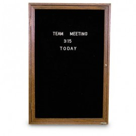 "36 x 36"" Illuminated Single Door Indoor Wood Enclosed Letterboard"