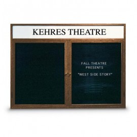 "24 x 36"" Single Door Indoor Wood Enclosed Letterboard Illuminated w/ Header"
