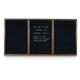 "72 x 36"" Triple Door Standard Indoor Wood Enclosed Letterboard"
