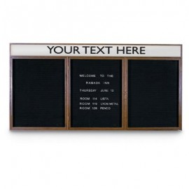 "72 x 48"" Triple Door Indoor Wood Enclosed Letterboard Illuminated w/ Header"