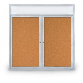 "48 x 48"" Double Door with Illuminated Header Indoor Enclosed Corkboards"