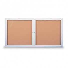 "60 x 36"" Double Door Illuminated Indoor Enclosed Corkboards"