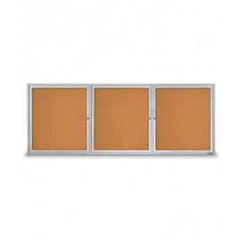 """96 X 36"""" Triple Door Standard Outdoor Enclosed Corkboards"""