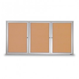 "72 x 36"" Triple Door Standard Outdoor Enclosed Corkboards"