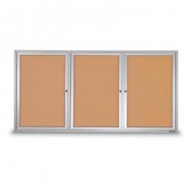 """72 x 36"""" Triple Door Standard Outdoor Enclosed Corkboards"""