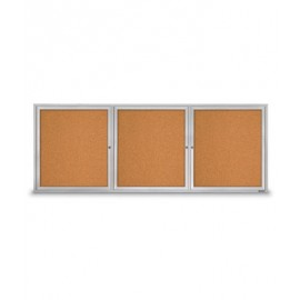 "96 X 36"" Triple Door Illuminated Outdoor Enclosed Corkboards"