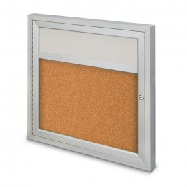 "36 x 36"" Single Door with Illuminated Header Outdoor Enclosed Corkboards"