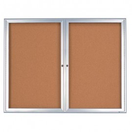"42 x 32"" Double Door Radius Frame- Indoor Enclosed Corkboard"