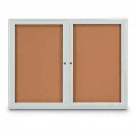 "48 x 36"" Double Door Radius Corner- Indoor Enclosed Corkboard"