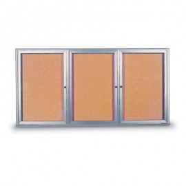 "72 x 36"" Triple Door Radius Frame- Indoor Enclosed Corkboard"