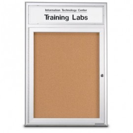 "24 x 36"" Single Door Radius Frame w/Header- Outdoor Enclosed Corkboard"