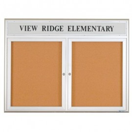"60 x 36"" Double Door Illuminated 4"" Radius Frame Enclosed Corkboard"
